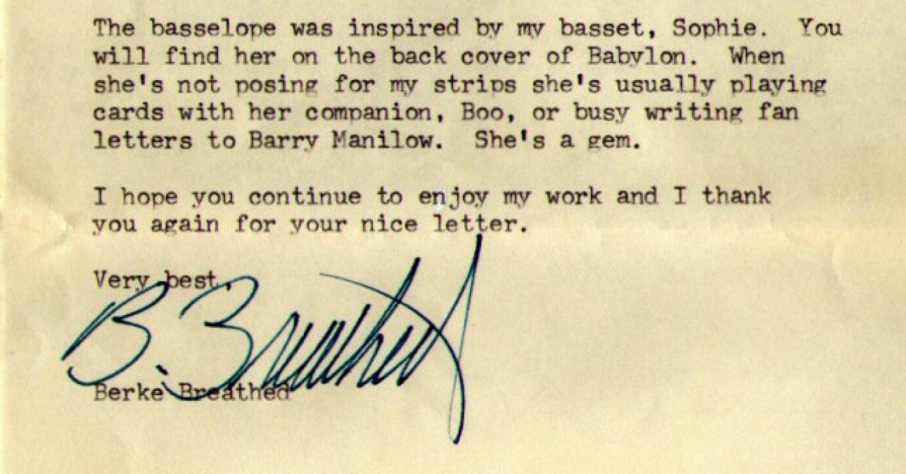 Berkeley Breathed, Letter #1